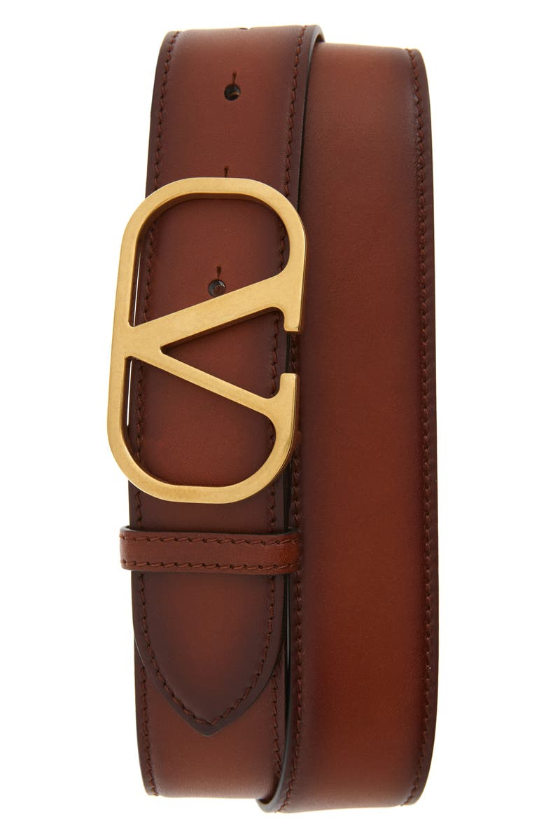 VALENTINO Rounded V-Buckle Leather Belt, Main, color, 218