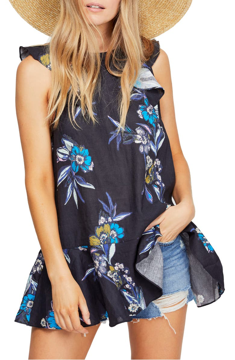 FREE PEOPLE Summer in Tulum Tunic, Main, color, BLACK