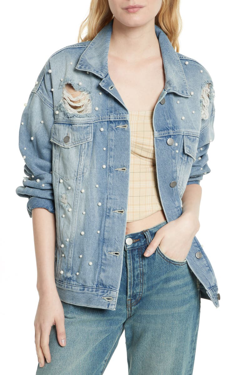 FREE PEOPLE We the Free by Free People Sunday Funday Denim Trucker Jacket, Main, color, 403