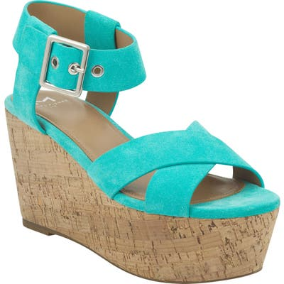 Marc Fisher Ltd Cacie Platform Sandal- Blue/green