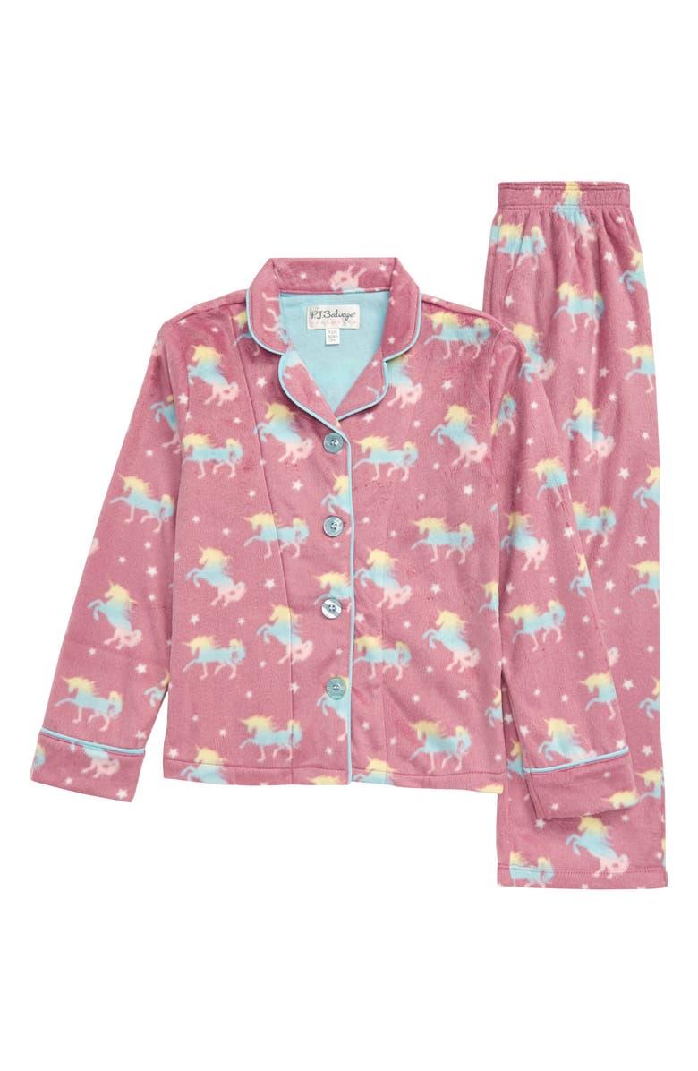 PJ SALVAGE Unicorn Squad Notch Collar Two-Piece Pajamas, Main, color, PURPLE