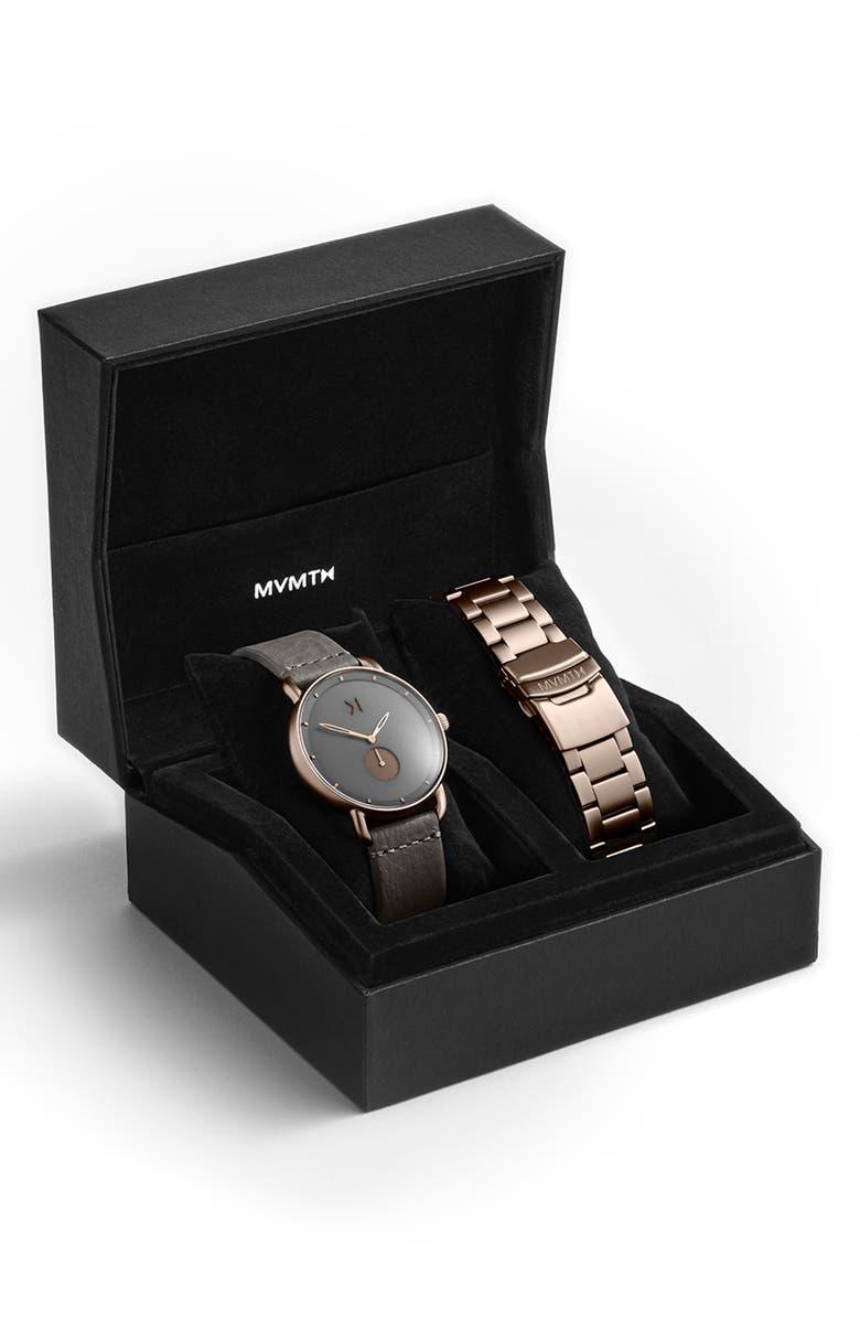 MVMT Revolver Leather Strap Watch & Bracelet Strap Set, 41mm, Main, color, GREY/ ROSE GOLD