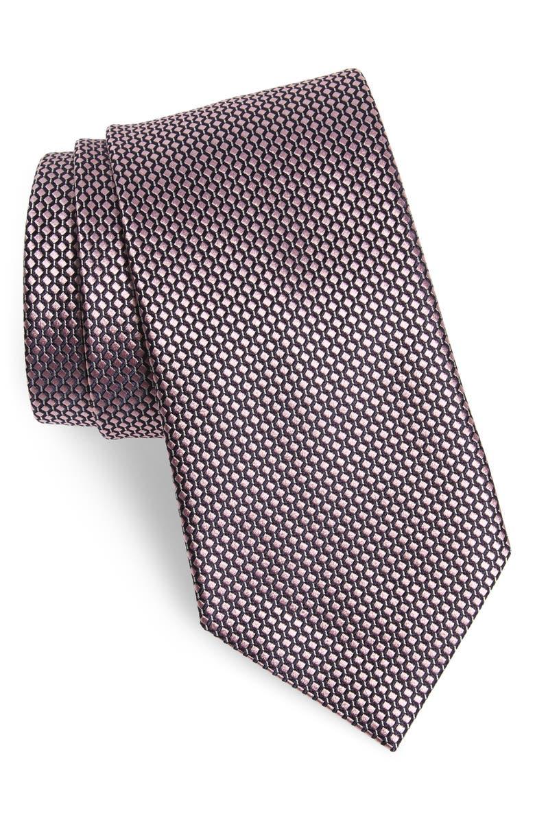 ERMENEGILDO ZEGNA Geometric Silk Tie, Main, color, PINK