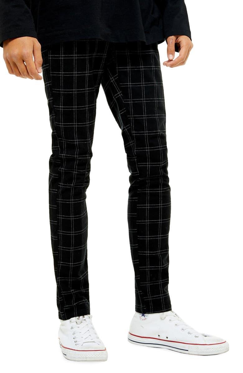 TOPMAN Skinny Fit Check Pants, Main, color, 001