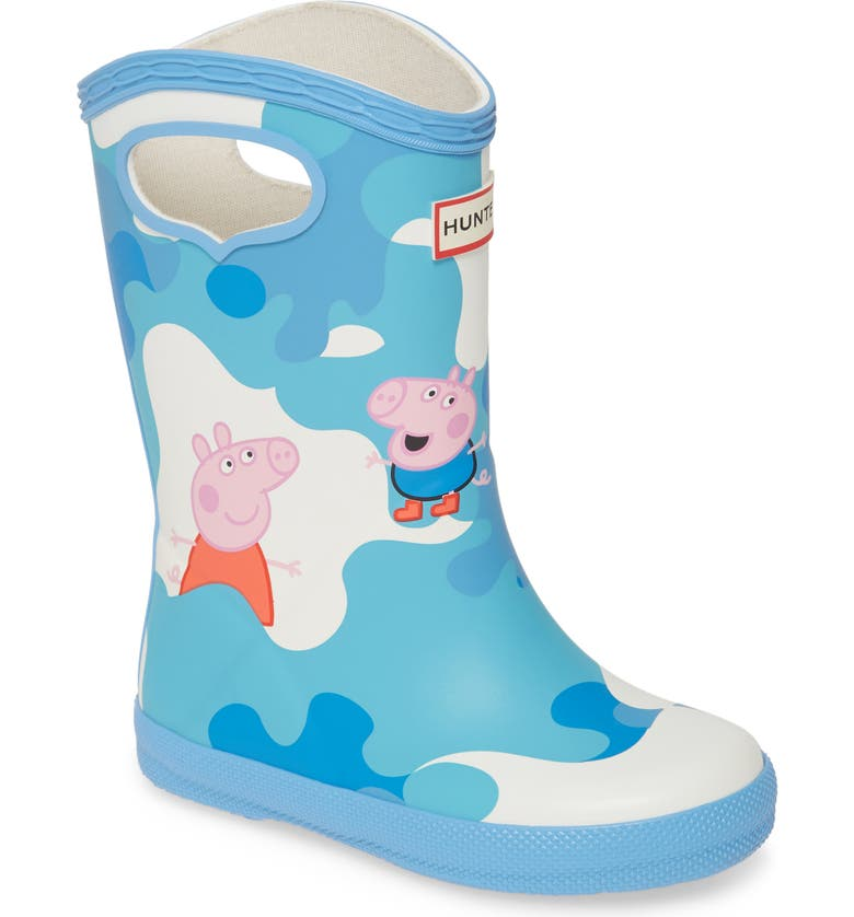 HUNTER Original Peppa Muddy Puddles Pull-On Rain Boot, Main, color, FORGET ME NOT