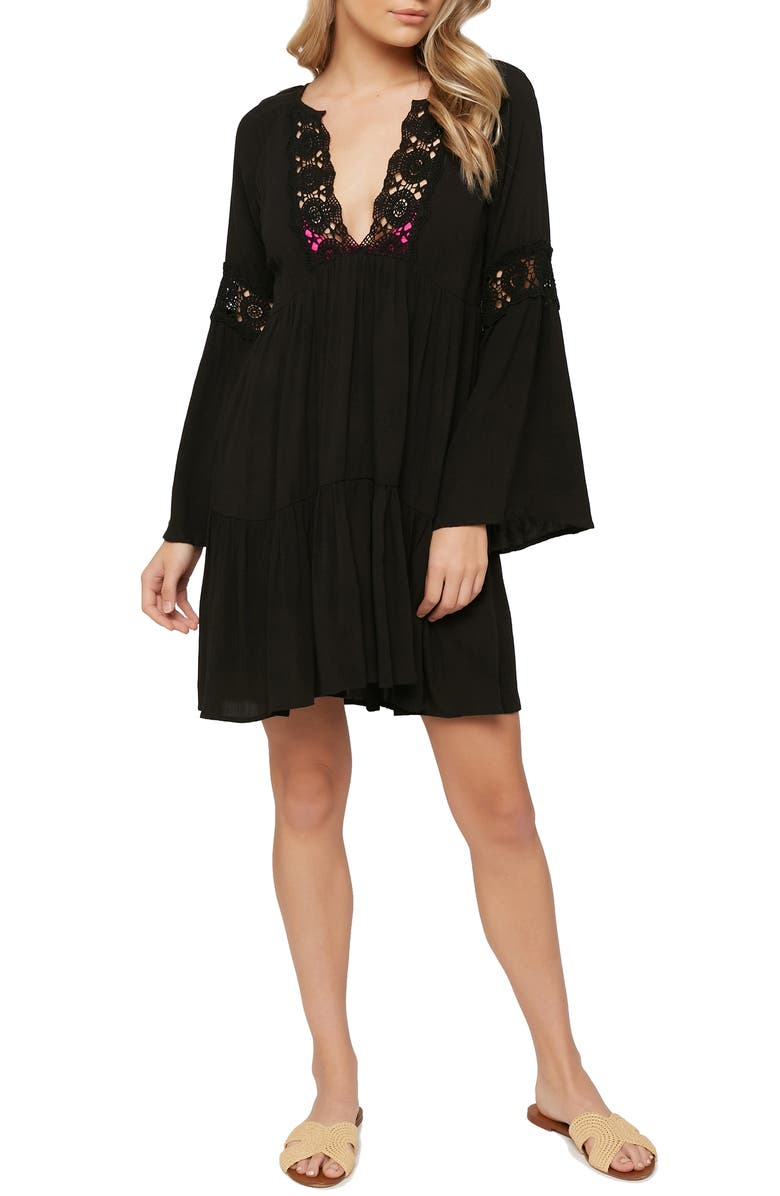 O'NEILL Saltwater Solids Bell Sleeve Cover-Up Tunic Dress, Main, color, BLACK