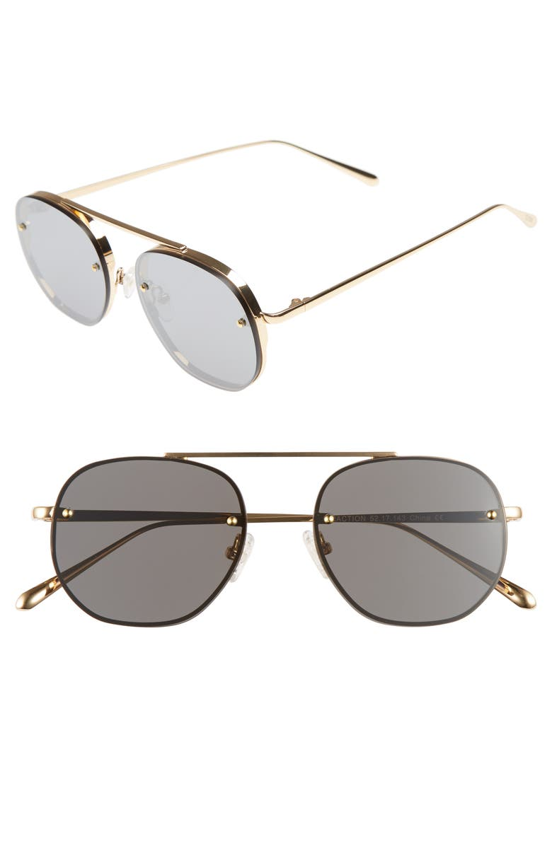BONNIE CLYDE Traction 52mm Aviator Sunglasses, Main, color, 714