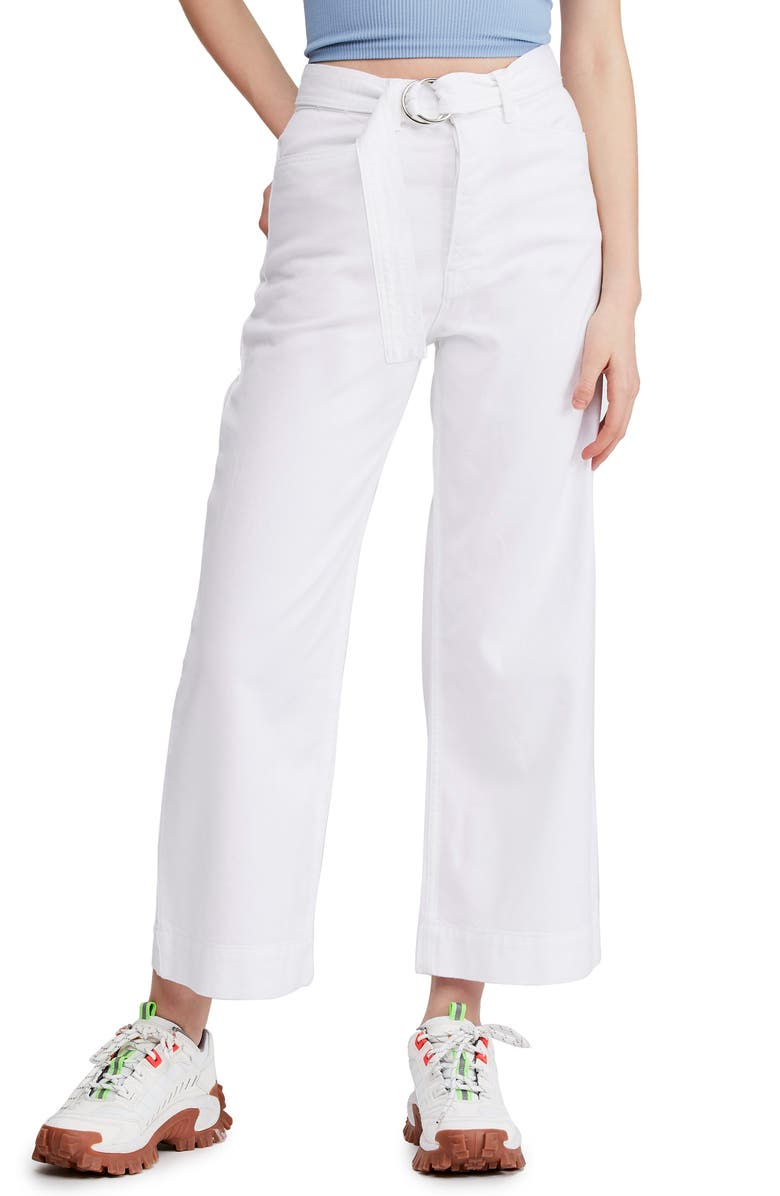 BDG Urban Outfitters Belted Flood Jeans, Main, color, WHITE