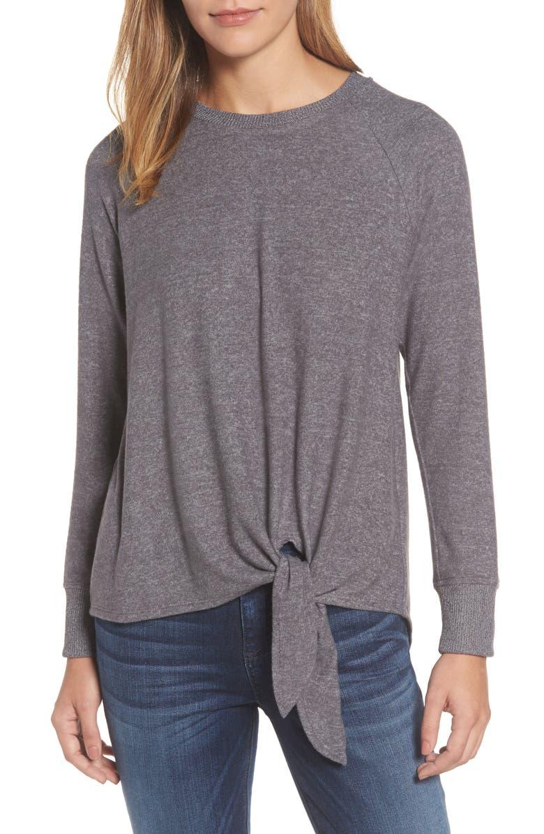 GIBSON Tie Front Cozy Fleece Pullover, Main, color, 021