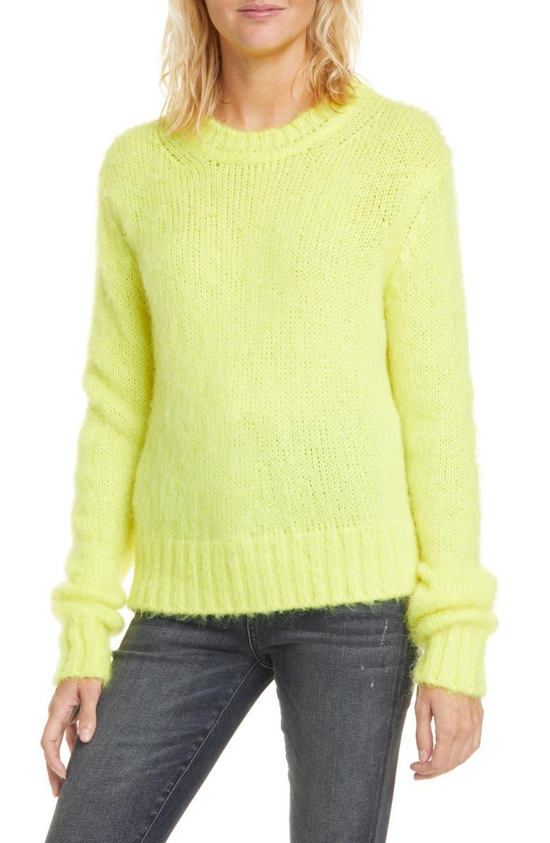 BA&SH Crewneck Sweater, Main, color, JAUNE