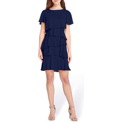 Tahari Tiered Chiffon Dress, Blue