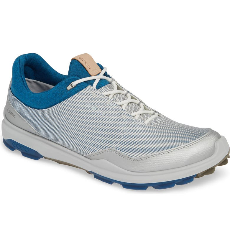 ECCO BIOM Hybrid 3 Gore-Tex<sup>®</sup> Golf Shoe, Main, color, WHITE/ OLYMPIAN BLUE LEATHER