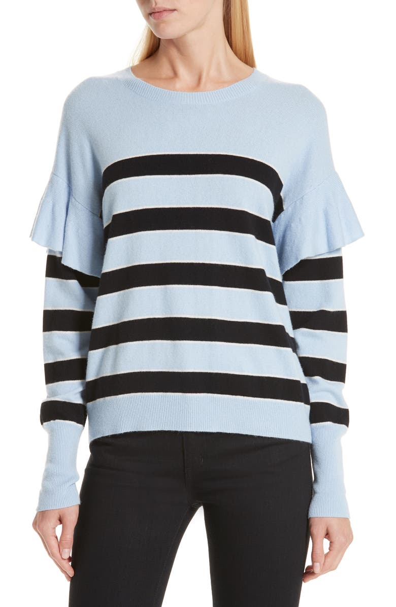 ROBERT RODRIGUEZ Olivia Ruffle Stripe Sweater, Main, color, 450