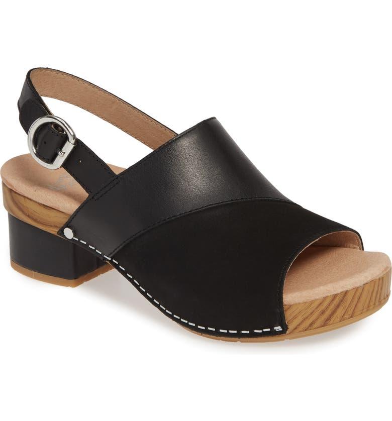 DANSKO Madalyn Slingback Sandal, Main, color, BLACK LEATHER