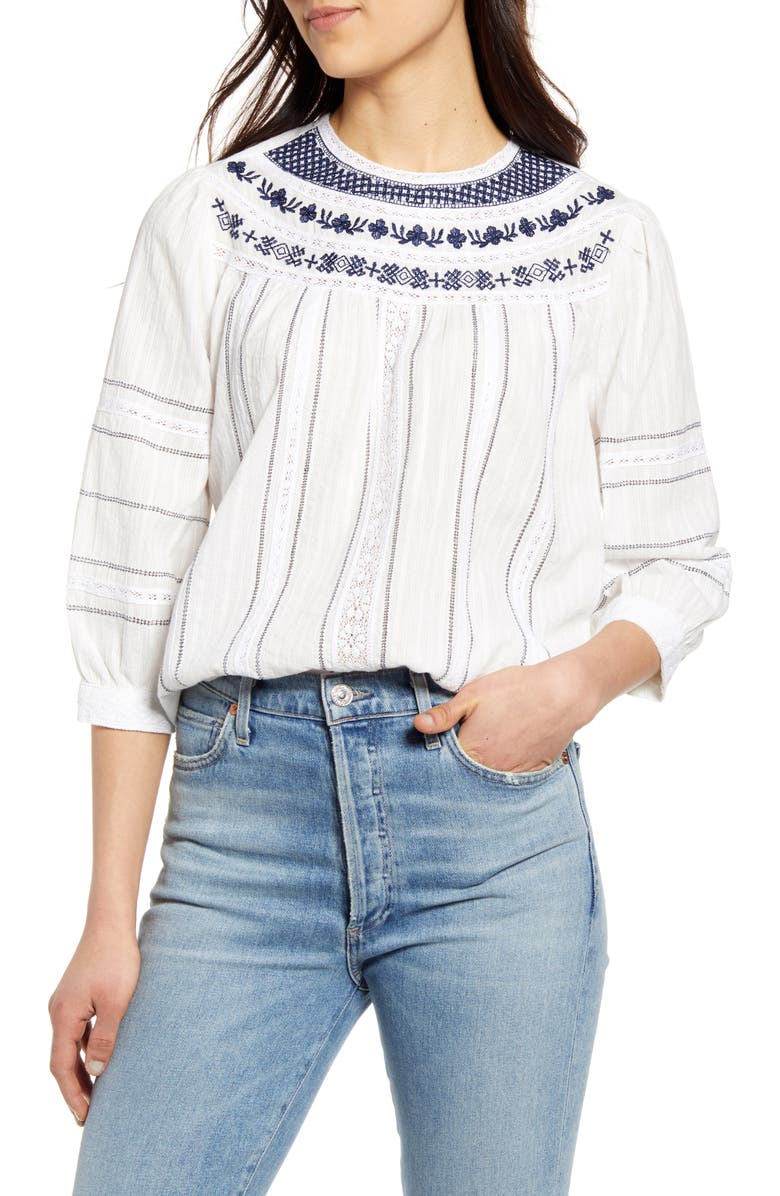 LUCKY BRAND Zoey Embroidered Cotton Peasant Blouse, Main, color, LUCKY WHITE