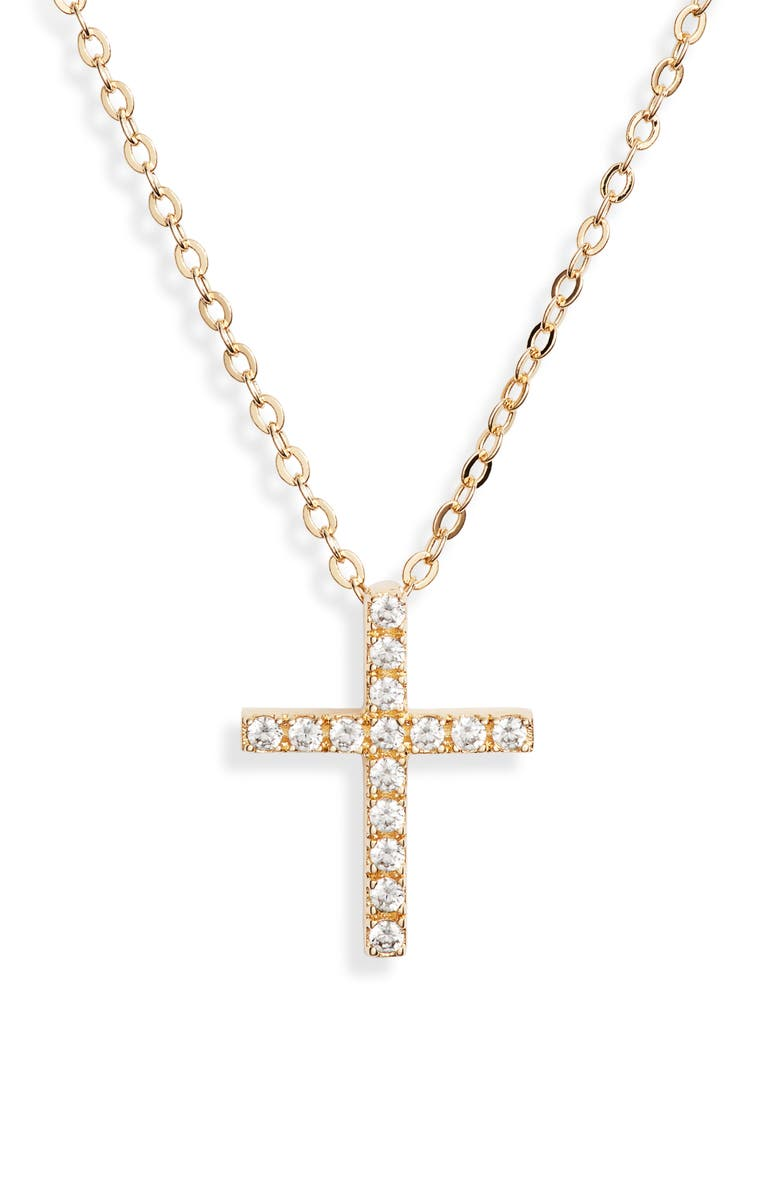 NORDSTROM Cubic Zirconia Cross Necklace, Main, color, CLEAR- GOLD