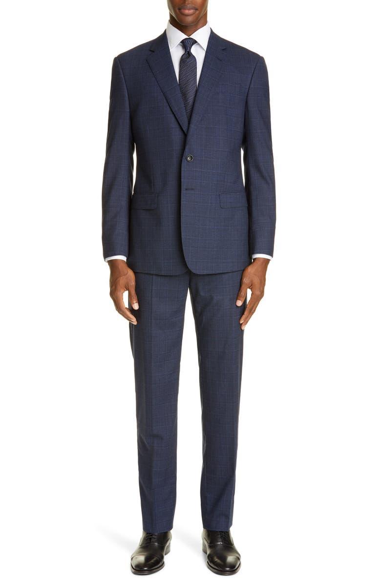 GIORGIO ARMANI Classic Fit Plaid Stretch Wool Suit, Main, color, 404