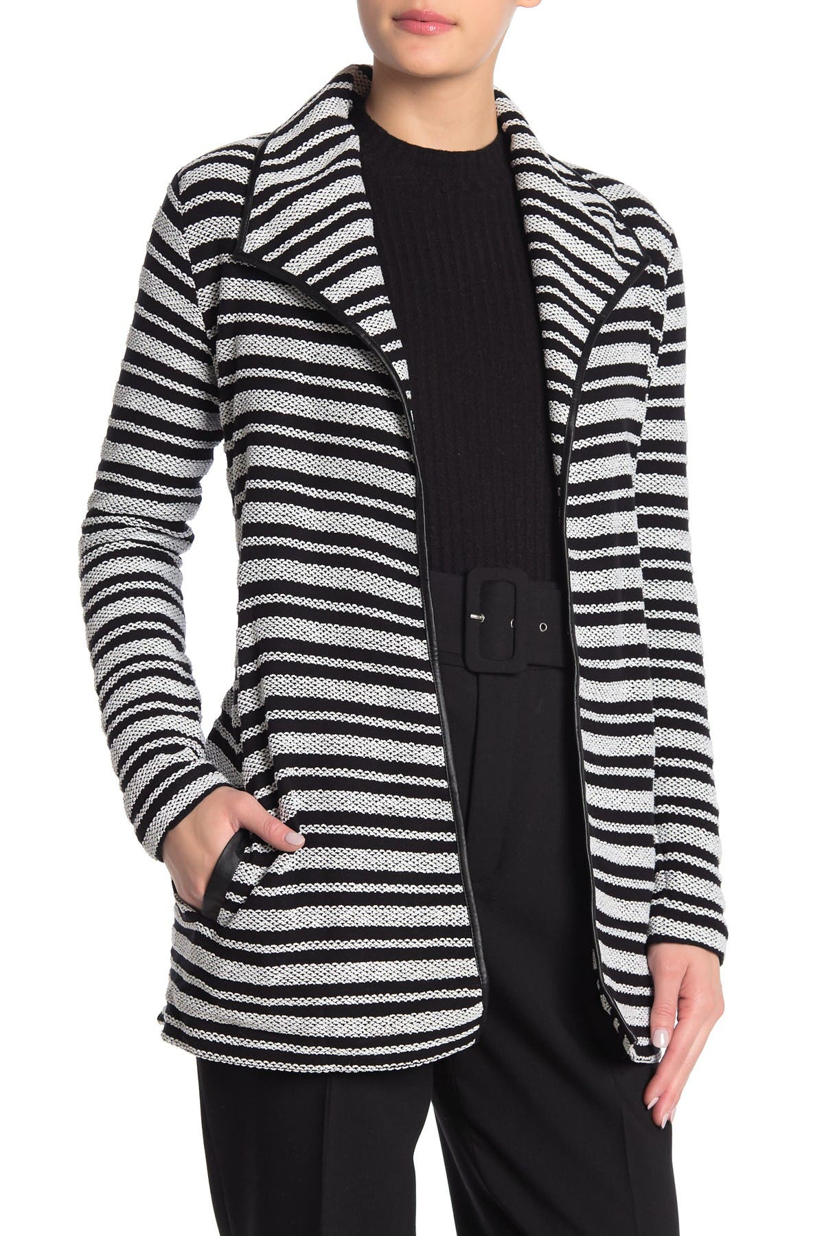 Image of Tart Xena Vegan Leather Trim Woven Coat