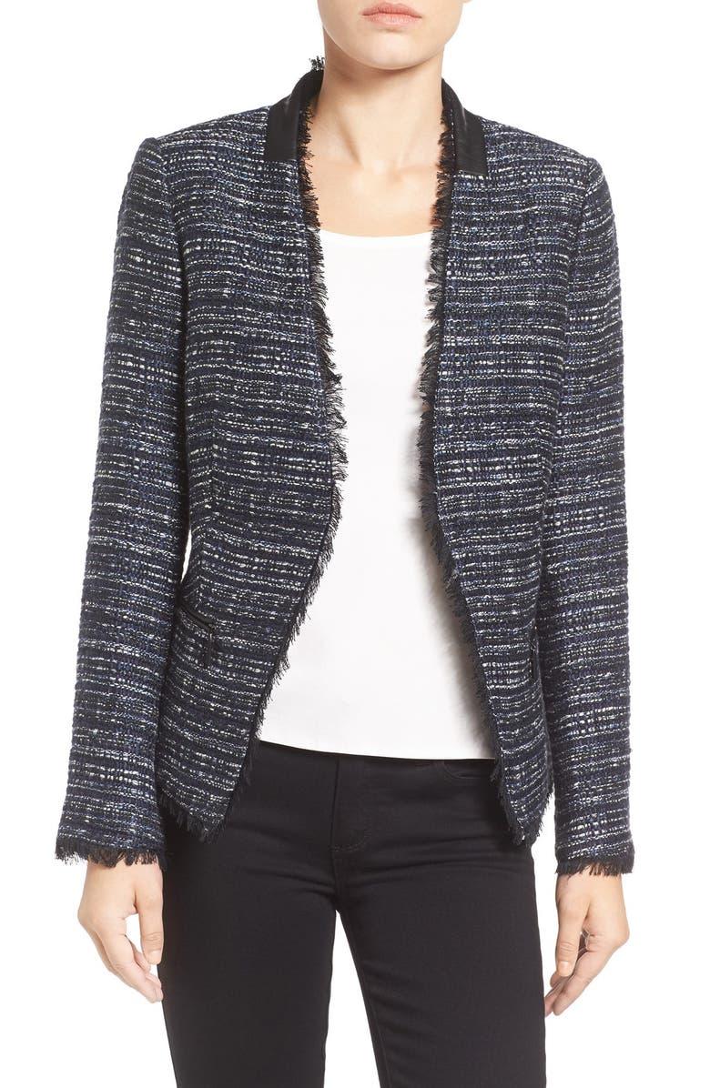 IVANKA TRUMP Open Front Tweed Jacket, Main, color, 410