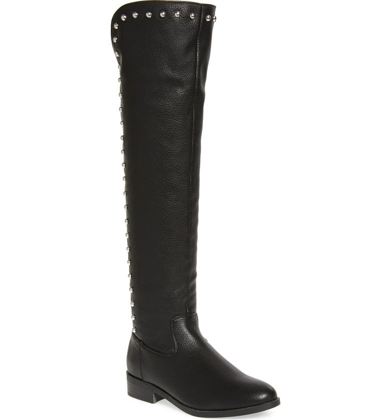 VERY VOLATILE Akita Studded Over the Knee Boot, Main, color, BLACK FAUX LEATHER