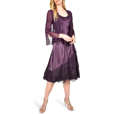 Petite Komarov Ombre Tiered Hem Cocktail Dress With Chiffon Jacket, Purple