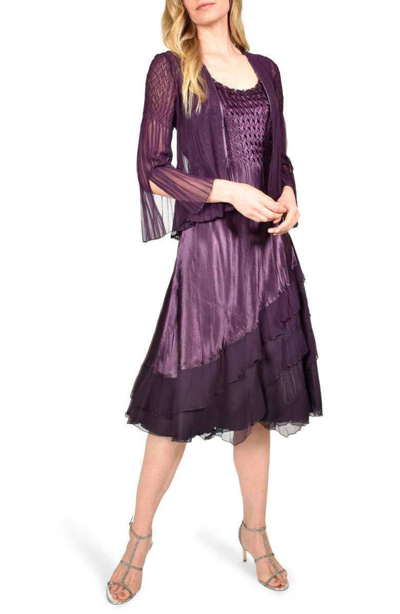 KOMAROV Ombré Tiered Hem Cocktail Dress with Chiffon Jacket, Main, color, AUBERGINE BLACK OMBRE