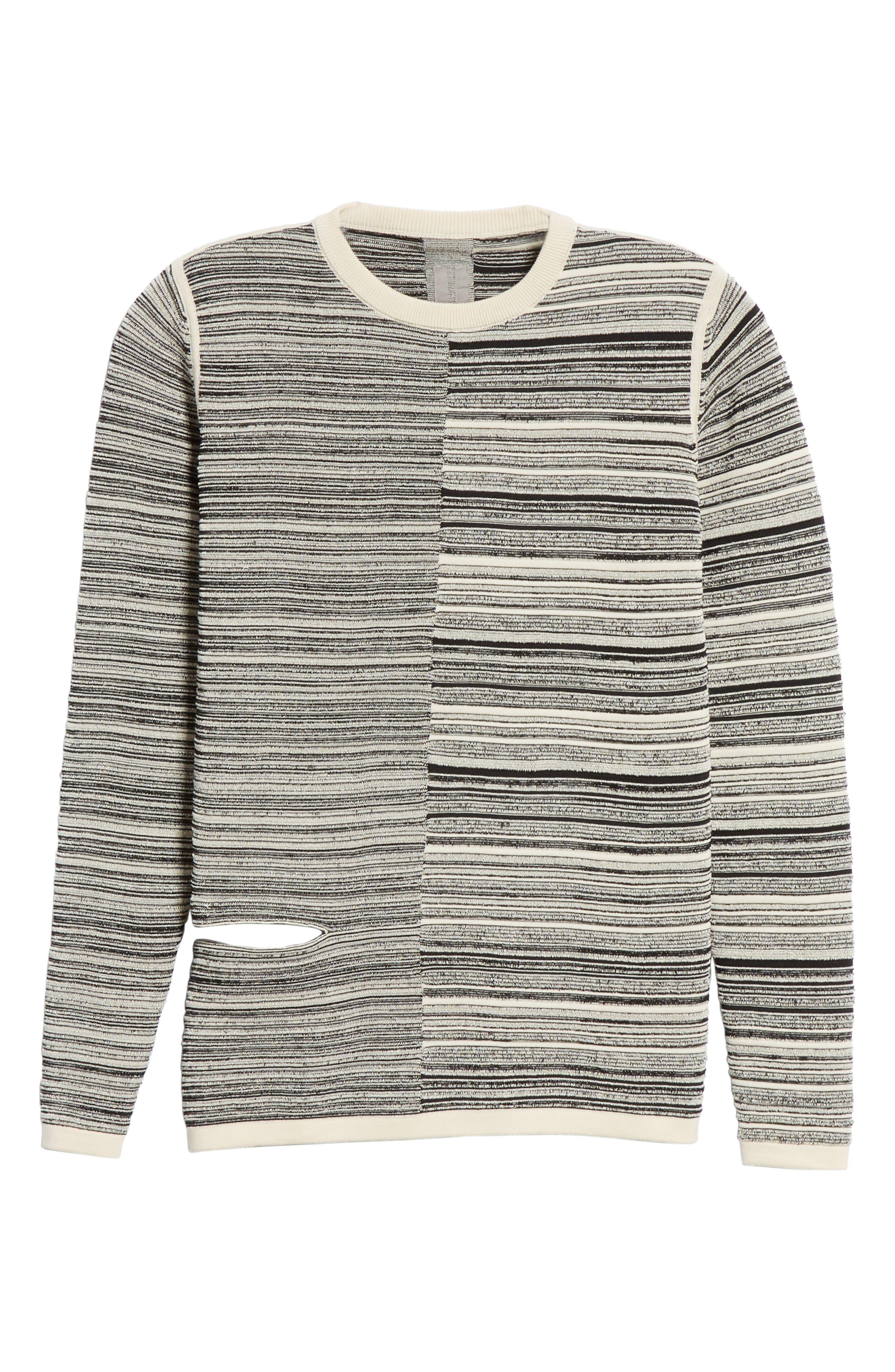 ,                             Split Stripe Shred Detail Cotton Blend Sweater,                             Alternate thumbnail 6, color,                             BLACK NATURAL