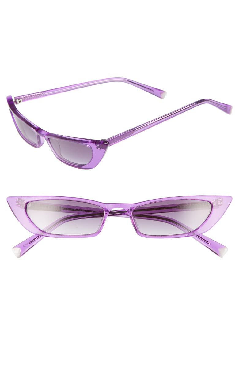 KENDALL + KYLIE Vivian 51mm Extreme Cat Eye Sunglasses, Main, color, CRYSTAL PURPLE