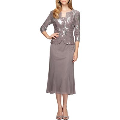 Alex Evenings Sequin Midi Dress With Jacket, Grey