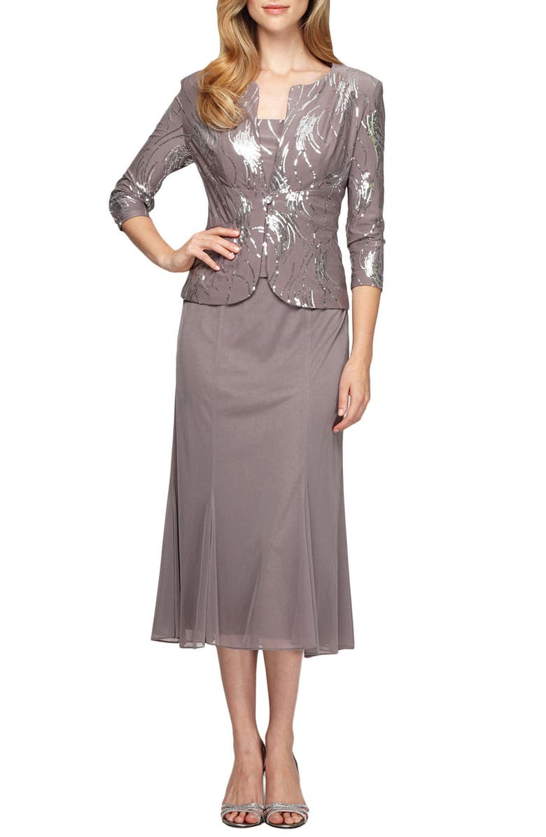 ALEX EVENINGS Midi Dress & Jacket, Main, color, PEWTER FROST