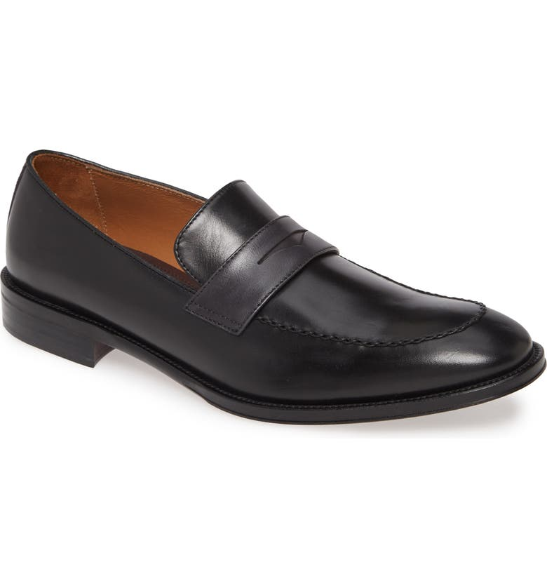 BRUNO MAGLI Arezzo Penny Loafer, Main, color, BLACK/ DARK GREY LEATHER