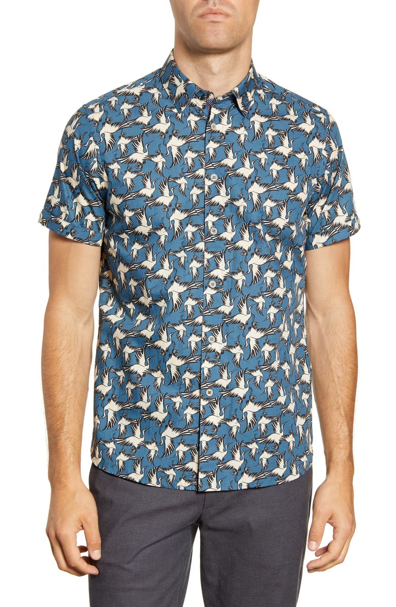 TED BAKER LONDON Oliver Slim Fit Bird Print Short Sleeve Button-Up Shirt, Main, color, BLUE