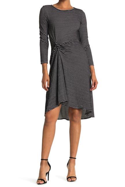 Image of Max Studio Stripe Twist Detail Knit Dress