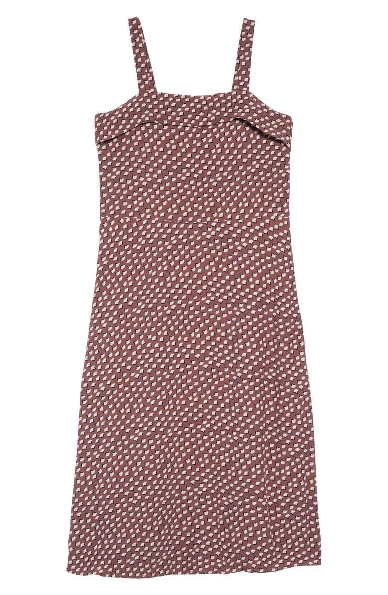 TREASURE & BOND Print Sleeveless Midi Dress, Main, color, PURPLE TAUPE FAN