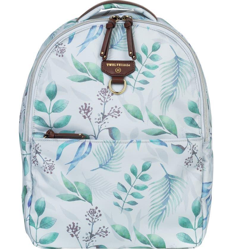 TWELVELITTLE Mini Go Water Resistant Diaper Backpack, Main, color, LEAF PRINT
