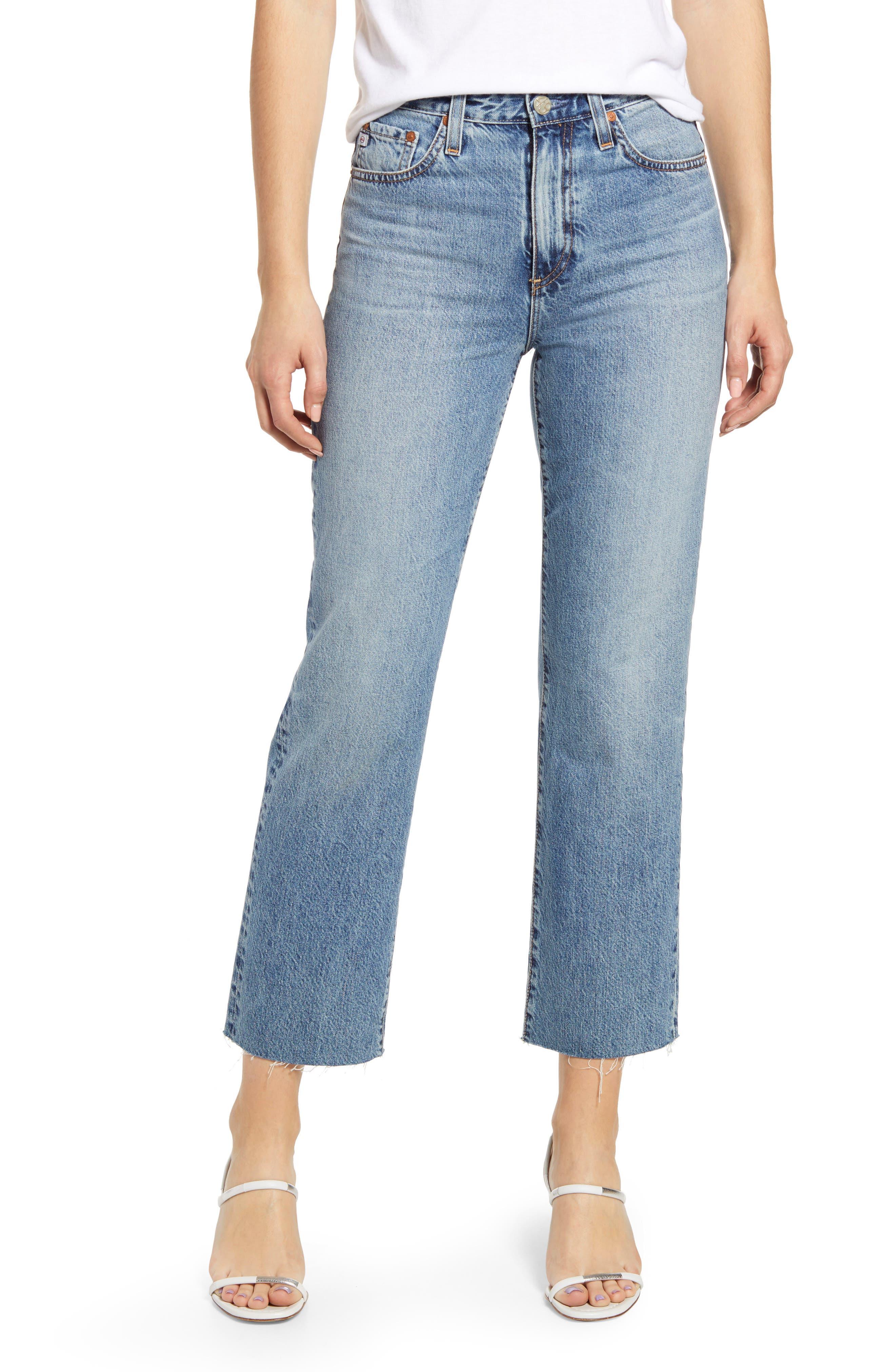 Alexxis High Waist Raw Hem Crop Straight Leg Jeans