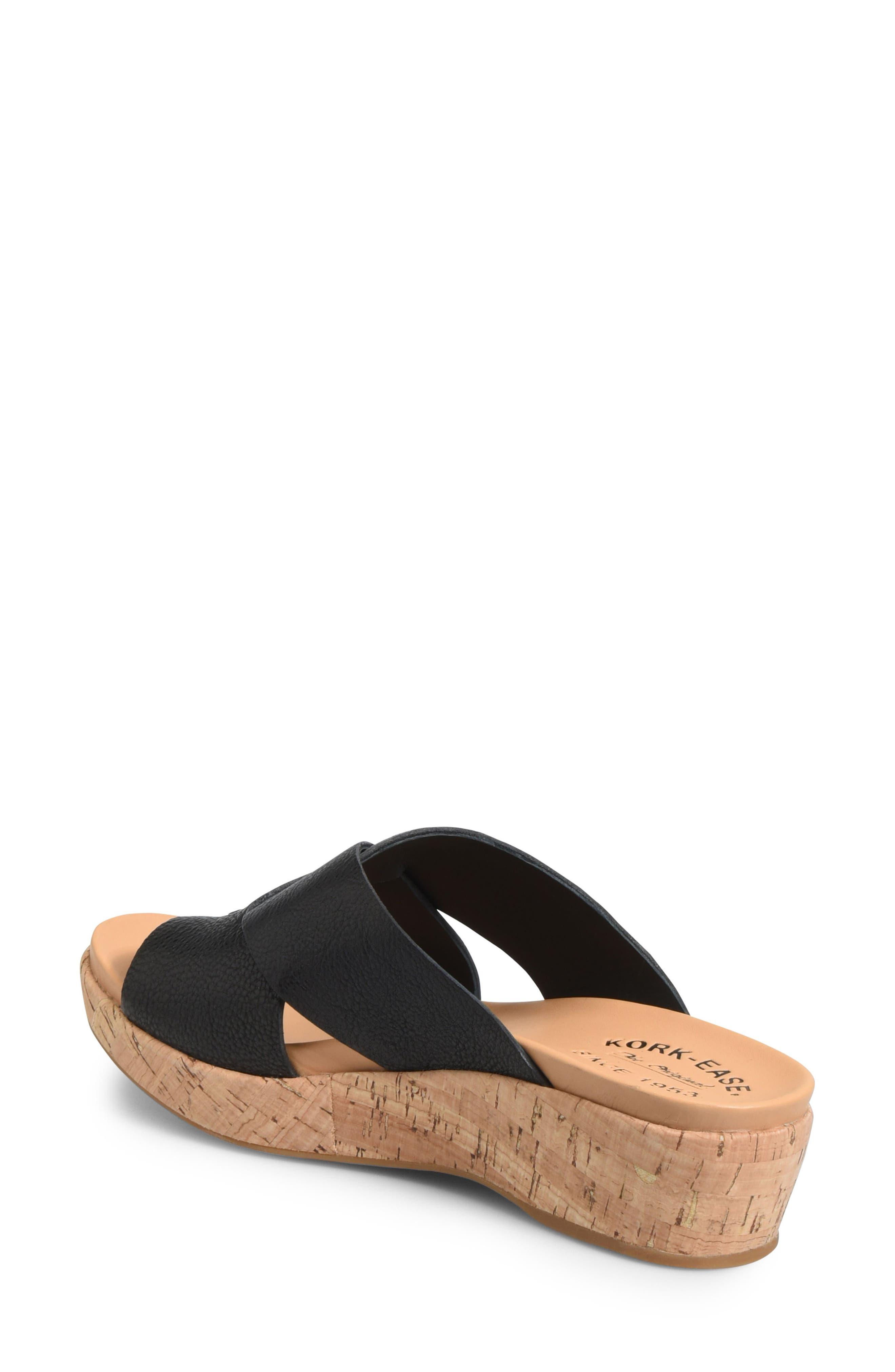 ,                             Baja Wedge Slide Sandal,                             Alternate thumbnail 2, color,                             BLACK LEATHER