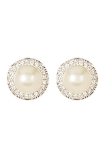 Image of ADORNIA Sterling Silver 9mm Freshwater Pearl Swarovski Crystal Accented Halo Stud Earrings