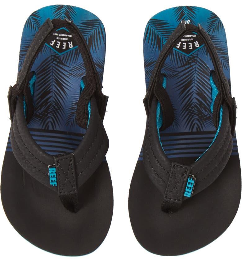 REEF Little Ahi Water Resistant Sandal, Main, color, AQUA PALMS