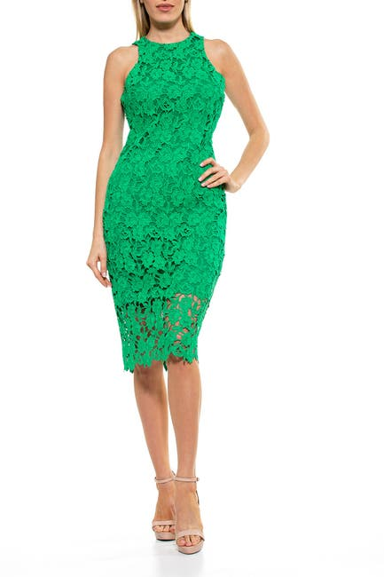 Image of Alexia Admor Floral Crochet Lace Midi Dress