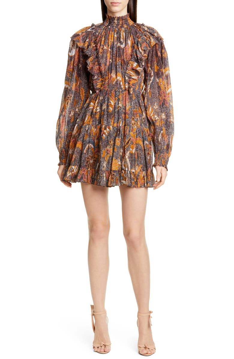 ULLA JOHNSON Vienne Tiered Long Sleeve Minidress, Main, color, AMBER