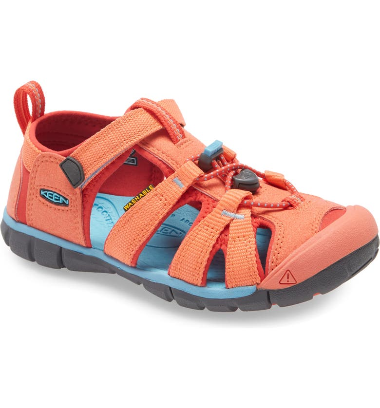 KEEN Seacamp II CNX Water Friendly Sandal, Main, color, CORAL/ POPPY RED
