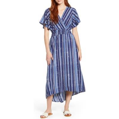 Tommy Bahama Fan Fair Stripe High/low Maxi Dress, Blue