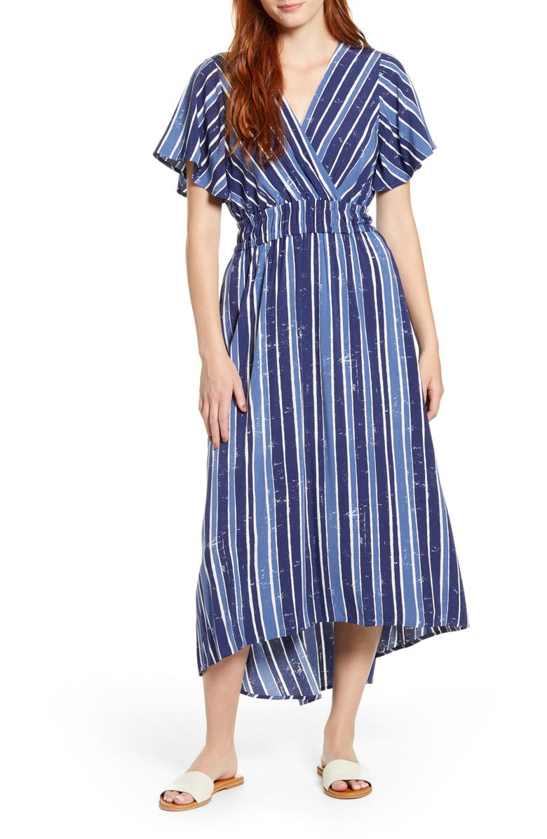 TOMMY BAHAMA Fan Fair Stripe High/Low Maxi Dress, Main, color, 410