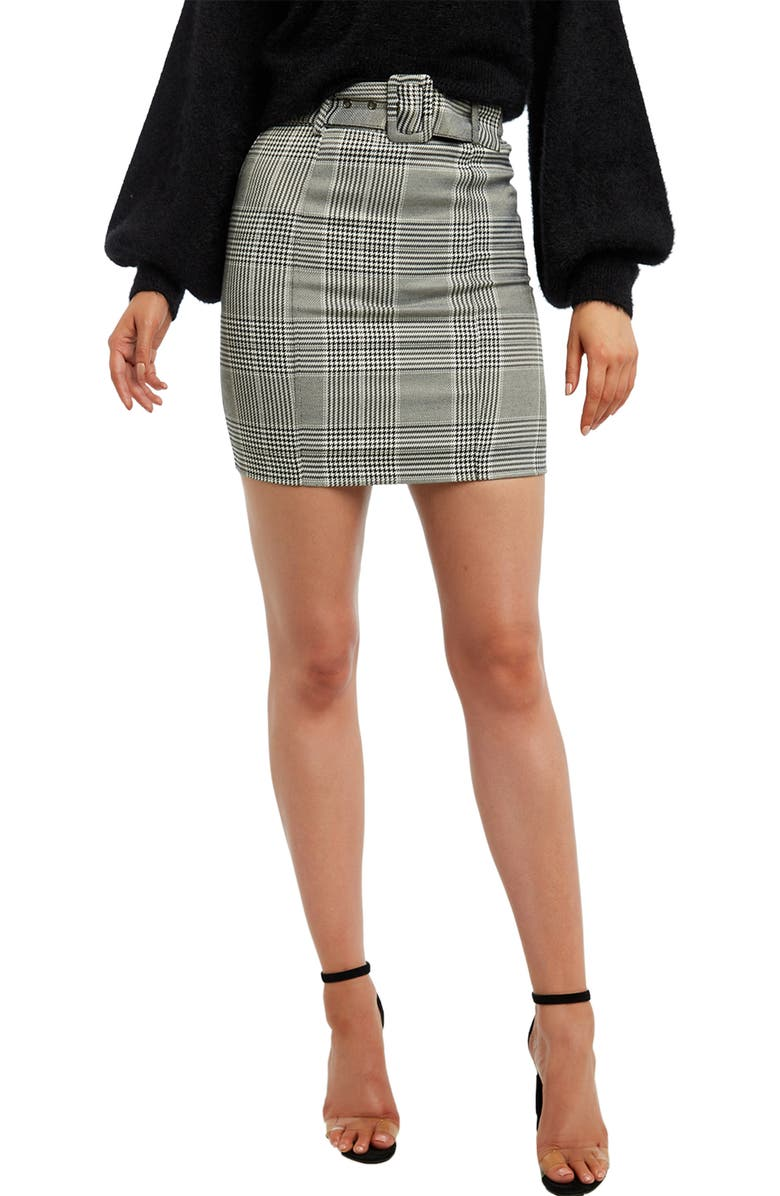 BARDOT Check Belted Miniskirt, Main, color, MONOCHECK