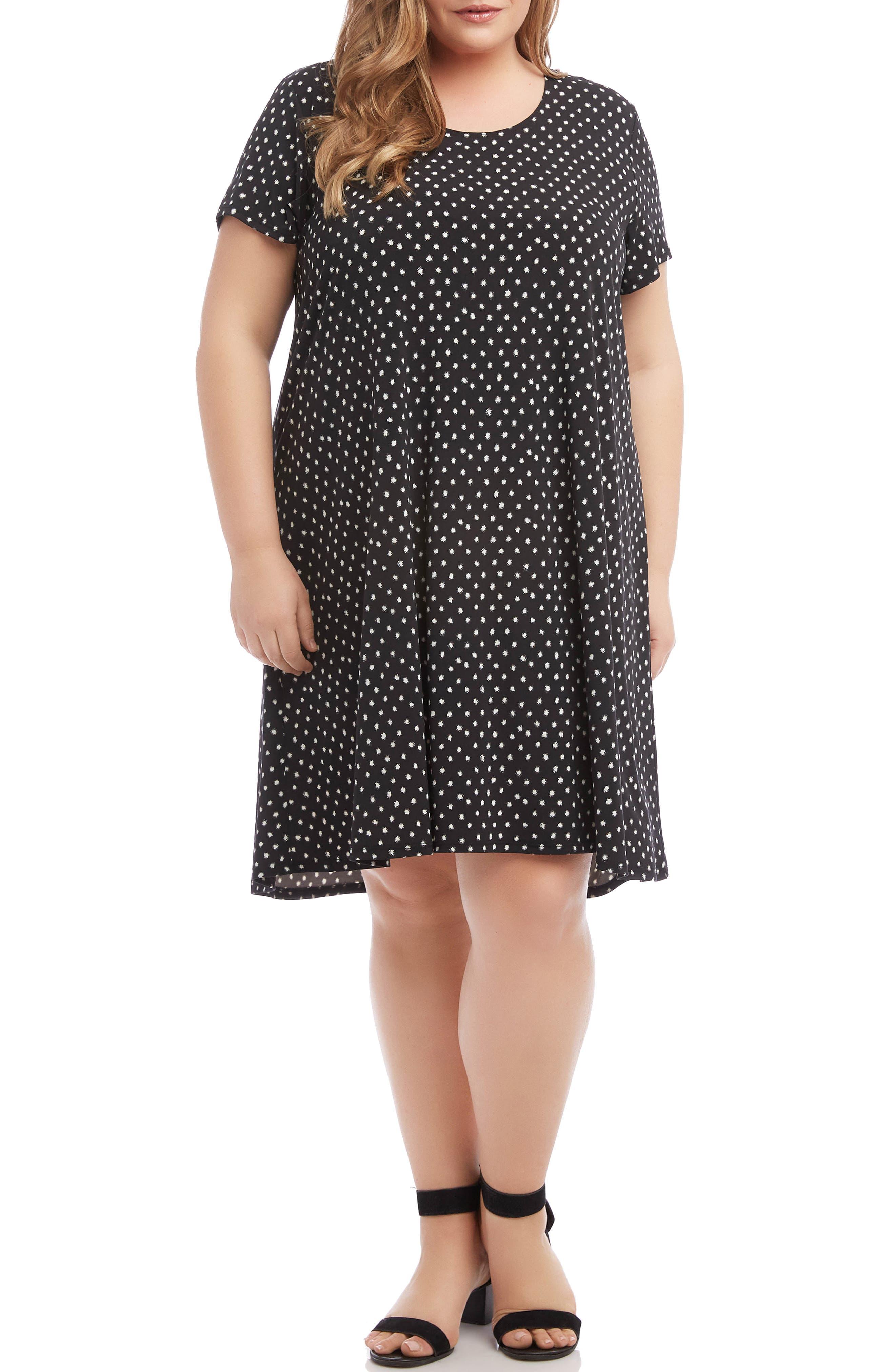 Plus Size Karen Kane Maggie Polka Dot Trapeze Dress, Black