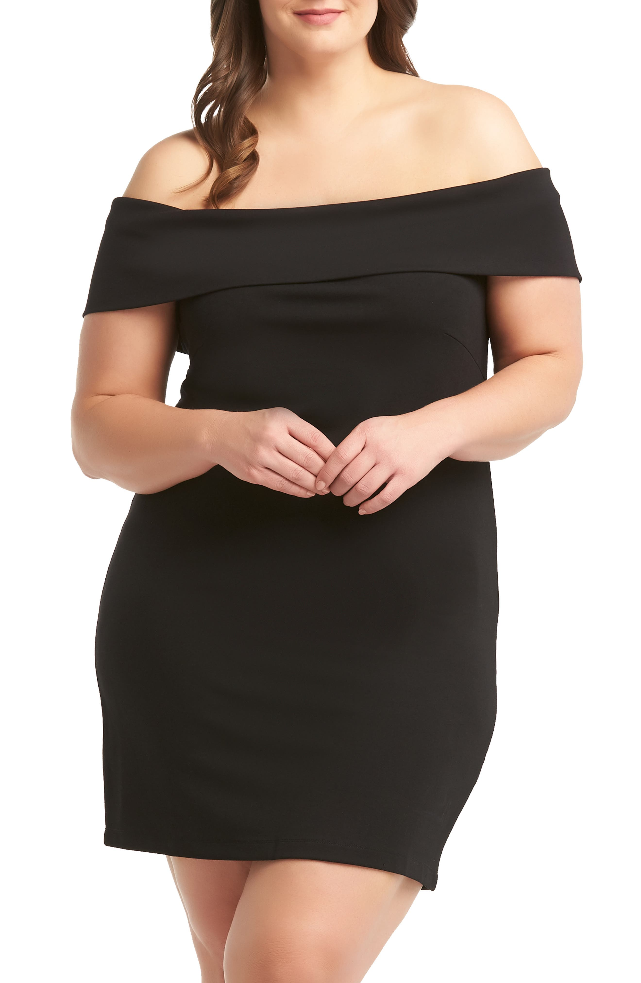 Plus Size Lemon Tart Betty Off The Shoulder Minidress, Black