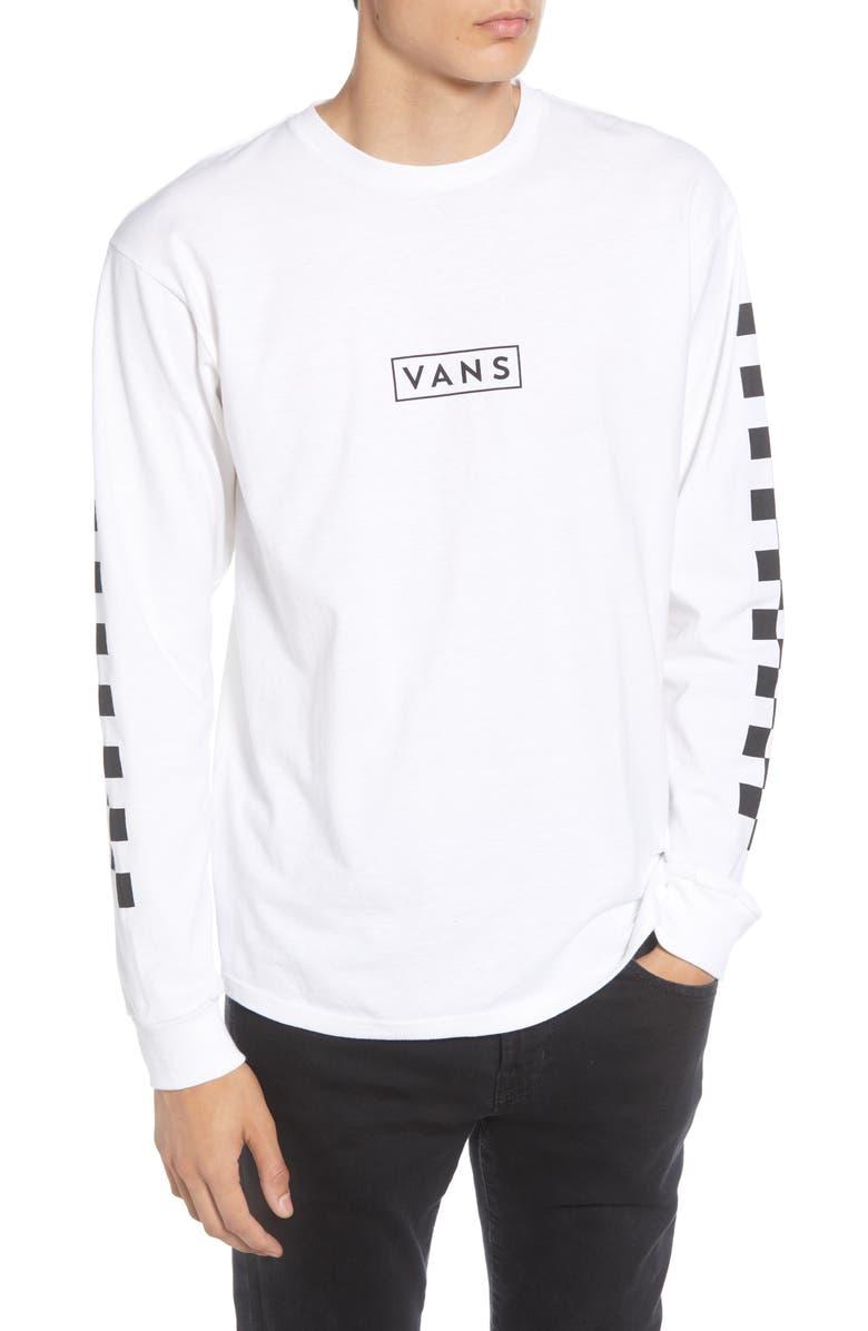 VANS Box Checker Logo Long Sleeve T-Shirt, Main, color, WHITE/ BLACK