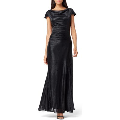Tahari Stretch Metallic A-Line Gown, Black