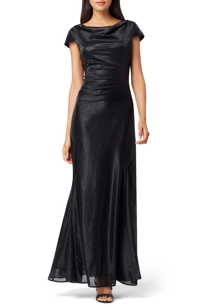 TAHARI Stretch Metallic A-Line Gown, Main, color, BLACK